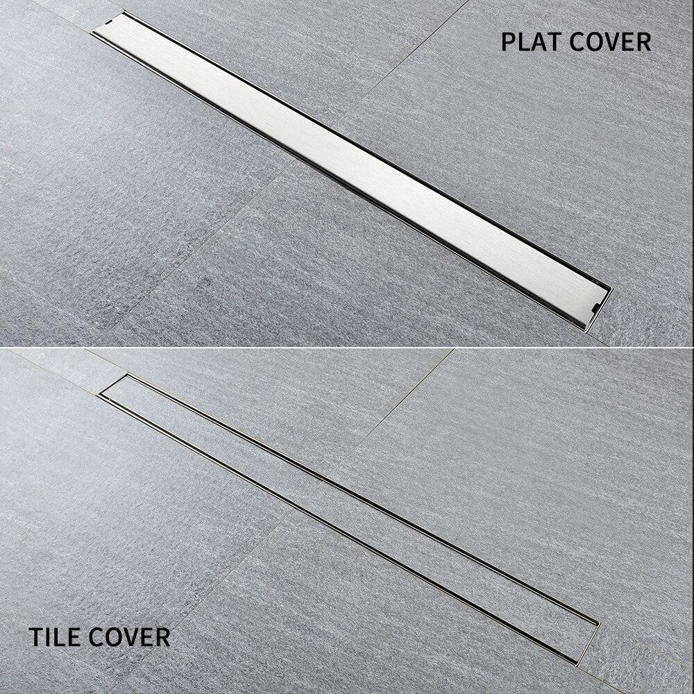 Brushed 304 Stainless Steel Bathroom Shower Odor-Resistant Floor Drain Large Displacement Water Floor Drain